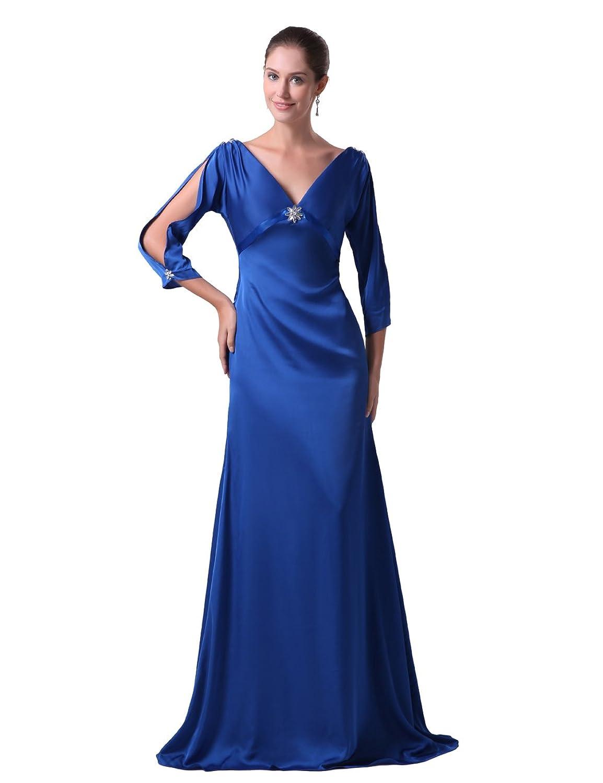Dresstells Damen Abendkleider Ballkleid Elegant Lang Ärmel V-Ausschnitt DT90072