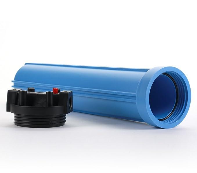 Hydronix HX-HF5-20BLBK34PR Water Filter Housing 20 RO Whole House Hydroponics-3//4 Ports Blue//Black Blue Body w//PR