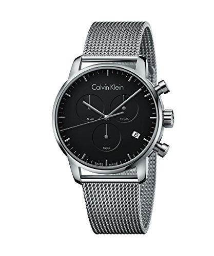 New Mens Calvin Klein City 43mm Black Dial Chronograph Swiss Made Watch K2G27121