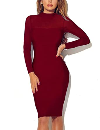 cff78b0251f40 Queen.M Women s Bodycon Dress Long Sleeve Sexy Mesh Splicing Pencil Midi  Evening Party Dress