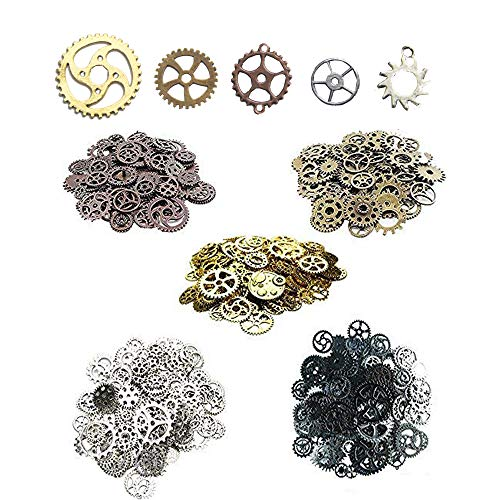 AmaJOY 140pcs Assorted Vintage 5 Mixed Colors Metal Steampunk Vintage Gear Jewelry Making Charms Cog Watch Wheel,200g