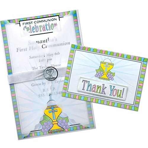 Religious First Communion Party Deluxe Invitation Kit, Paper, 8'' x 5'', Pack of 25 by Amscan