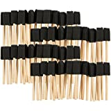 Pack of 100 1-Inch Foam Paint Brush Set - Value Pack - Great for Acrylics, Stains, Varnishes, Crafts, Art