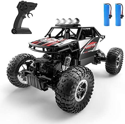DEERC DE45 RC Cars Remote Control Car 1:14 Off Road Monster Truck,Metal Shell 4 wheel drive Dual Motors LED Headlight Rock Crawler,2.4Ghz All Terrain Hobby Truck with 2 Batteries for 90 Min Play,Boy Adult Gifts
