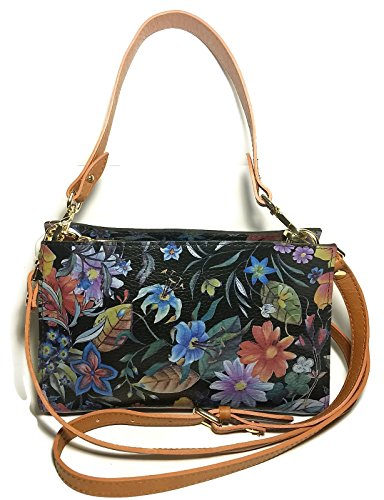 VALENTINA Black Floral Flower Print Satchel Crossbody, used for sale  Delivered anywhere in USA