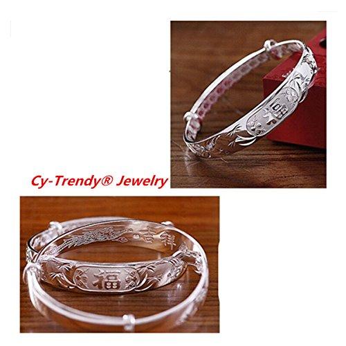 CY TRENDY Fashion Jewelry 925 Sterling Silver Plated Circle Rings Bangle Bracelets (Bamboo-fu) (Bracelet Bangle Silver Bamboo)