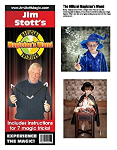 Jim Stott's Magic Wand Kit and Learn Magic Book Combo Magic Set Featuring Magic Tricks for Girls, Boys, Teens, and Adults Along with Instructional Videos and Bonus Downloads