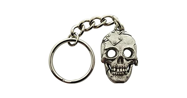 Amazon.com: Placa de metal llavero de calavera ~ Antiqued ...