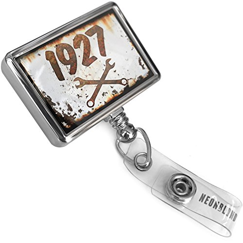 1927 Car - Retractable Plastic ID Badge Reel Rusty Old Look car 1927 with Bulldog Belt Clip On Holder Neonblond