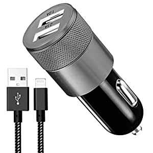 Sngg 3.1A Rapid Dual Port USB Car Charger with 6-feet Lightning Cable (Black)