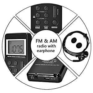 AM FM Pocket Radio Mini Portable Digital Tuning AM / FM Stereo Radio Receiver with Rechargeable Battery and Earphone-black
