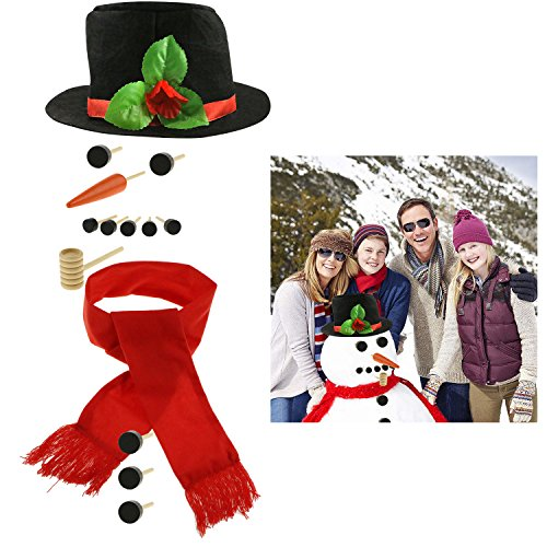 Fixget 13 Pcs Snowman Decorating Kit - Snowman Making Kit Snowman Dressing Kit Christmas Gift Outdoor Fun for Kids & Family, Including Top Hat, Scarf, Pipe, Eyes, Carrot Nose & Buttons, Large