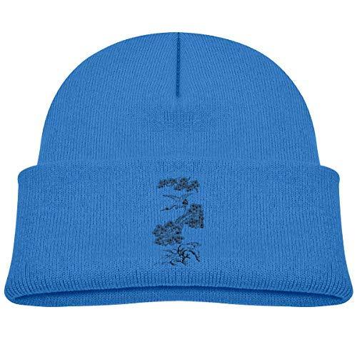 282d892da91b3 Kids Knitted Beanies Hat Chinese Tree White Crane Winter Hat Knitted Skull  Cap for Boys Girls