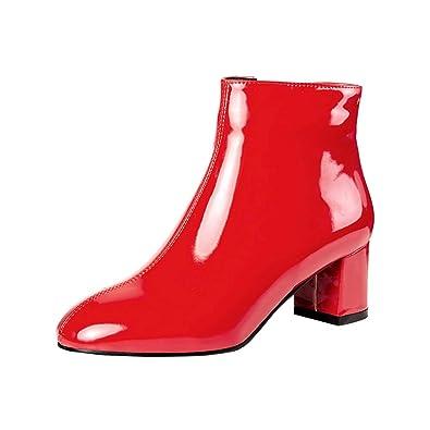 690700c66f6049 Y2Y Studio Bottines Courtes de Pluie Chaussures Femmes Vernis Talon Bloc  7.5cm Petit Bout Carre avec Fermeture Eclair pour Automne Hiver Simple  Boots pour ...