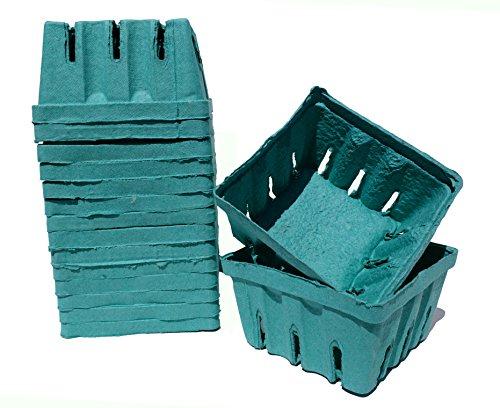 72 One Quart Berry Boxes - Fits Standard Quart Berry Carrier Flats - 2BBS Molded Green Fiber Berigard (72, (Quart Box)
