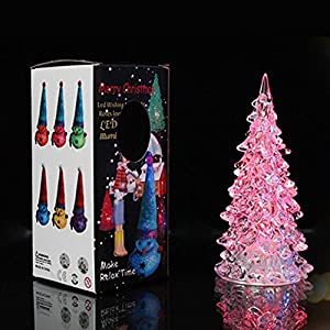 7 PCS Acrylic Led Crystal Christmas Tree LED Night Light Seven Color Light  Source Lamp For Home Decoration Halloween Decoration Xmas 5.5 12.5 Cm