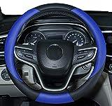 Amuahua Car Steering Wheel Cover Universal 15 inch/38CM Breathable for Auto/Truck/SUV/Van (Black Blue)
