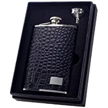"Visol ""Gator"" Crocodile Leather Flask Gift Set, 8-Ounce, Black"