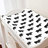 Carousel Designs Gray Painted Bear Changing Pad Cover - Organic 100% Cotton Change Pad Cover - Made in The USA