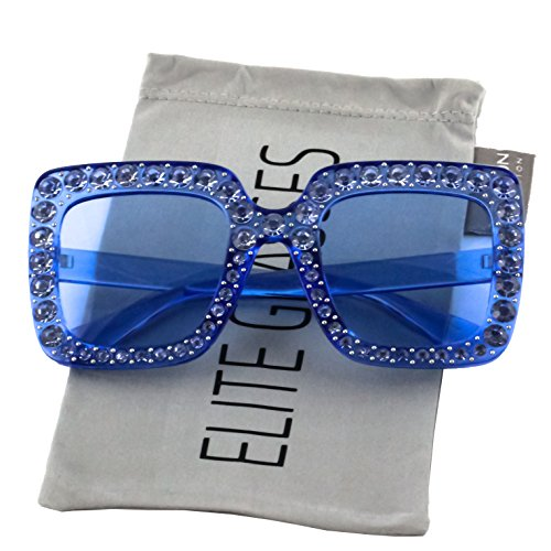 Elite Oversized Square Frame Bling Rhinestone Crystal Brand Designer Sunglasses For Women 2018 (Blue, (Crystal Blue Sunglasses)