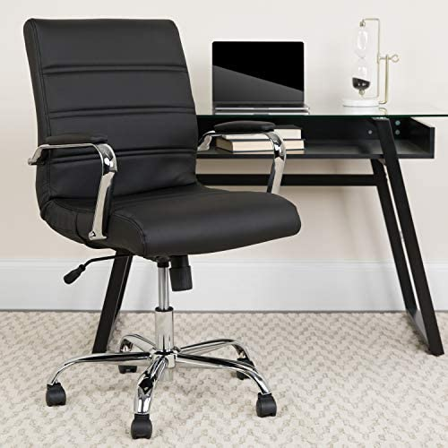 EMMA OLIVER Mid-Back Black LeatherSoft Swivel Office Chair