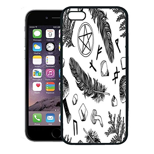 Semtomn Phone Case for iPhone 8 Plus case,Boho Witchcraft Pattern Ritual Things Wicca Attributes for Young Witch Goth iPhone 7 Plus case Cover,Black -