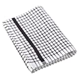 1 Dozen Original Lamont Poli-Check Tea Towel Kitchen Dish Towels Poli Dri, 12 Pack (Black)
