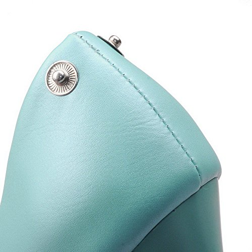 AllhqFashion Damen Ziehen auf Rund Zehe Hoher Absatz Eingelegt Pumps Schuhe Blau