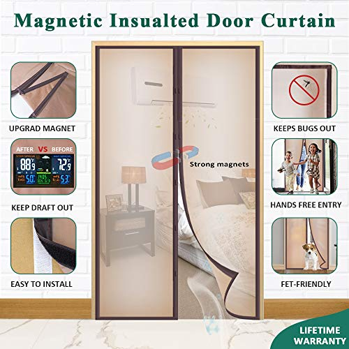 Mkicesky Upgrade Magnetic Insulated Door Curtain, Fits Doors up to 34 x 82 Inch, EVA Doorway Cover to Keep Draft Out in Winter, Kids Pets Walk Thro with Hands Free with Full Frame Hook&Loop - Brown (Freezer Plastic Curtains)