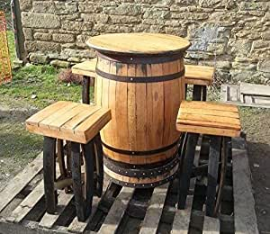 Cheeky Chicks Reciclado Roble Macizo Whisky Barril Mesa De Bar y 4 Taburetes