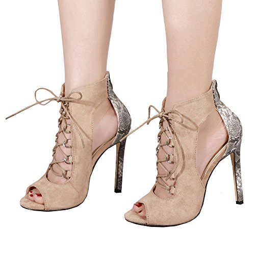 Faionny Women Shoes High Heel Pumps Fashion Shoe Boots Girls Ankle Boots Bandage Hollow Sandals Khaki