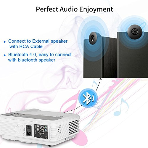 Wireless Bluetooth HD Projector 3200 Lumen Android 4.4 LCD Image System Home Theatre Projectors Support 1080p HDMI Airplay Screen Mirroring Multimedia LED Lamp 50,000hrs for Outdoor/Indoor Movie by EUG (Image #2)