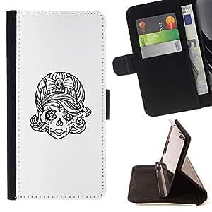 Momo Phone Case / Flip Funda de Cuero Case Cover - Tatuaje del cráneo de la novia del bosquejo del motorista Tinta - Apple Iphone 5 / 5S