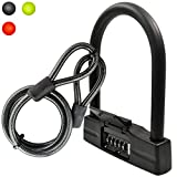 Lumintrail 18mm 5 Digit Combination Bike U-Lock with 4-Foot Braided Steel Cable (Black)