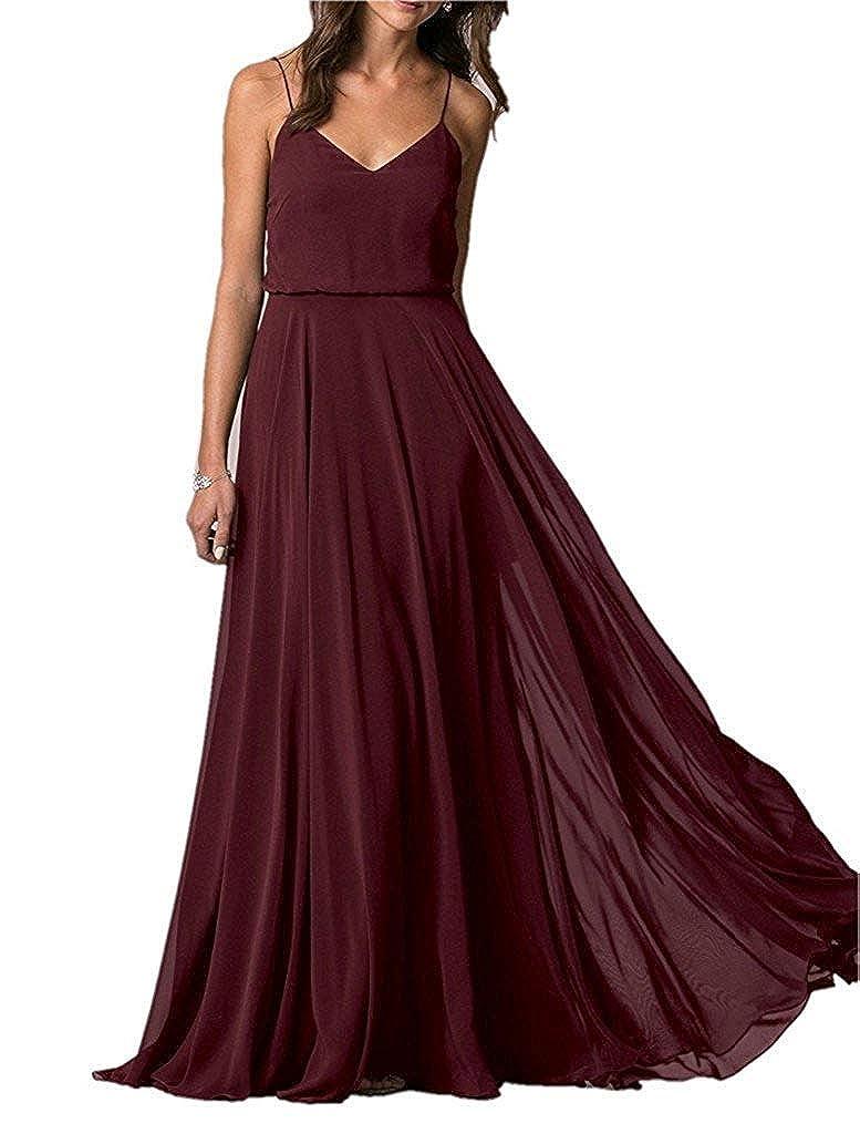 Dark Coffee YUSHENGSM Spaghetti Straps VNeck Long Bridesmaid Dress Wedding Beach Prom Skirt