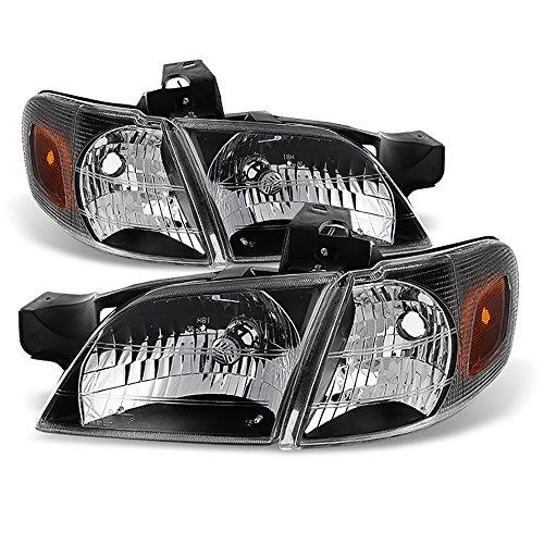 VIPMOTOZ Black OE-Style Headlight & Turn Signal Corner Side Marker Lamp Assembly For 1997-2005 Chevy Venture Oldsmobile Silhouette Pontiac Montana Trans Sport, Driver & Passenger Side ()