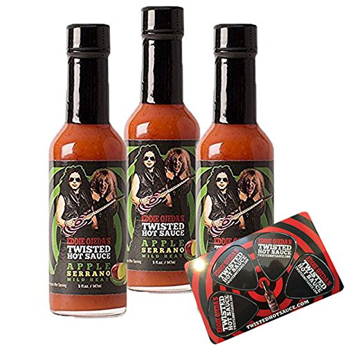 Twisted Hot Sauce Mild Heat Apple Serrano 5oz Twisted Sister Guitarist Eddie Ojeda Creation Signature Ojeda Bullseye Guitar w/ Dee Snider label w/ 4 popout Guitar Picks Card | (Apple Serrano, 3 PACK)