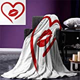 smallbeefly Kiss Lightweight Blanket Heart Drawn in Lipstick Woman Lip Imprint Romance Passion Tenderness Message Digital Printing Blanket 60''x36'' Red White