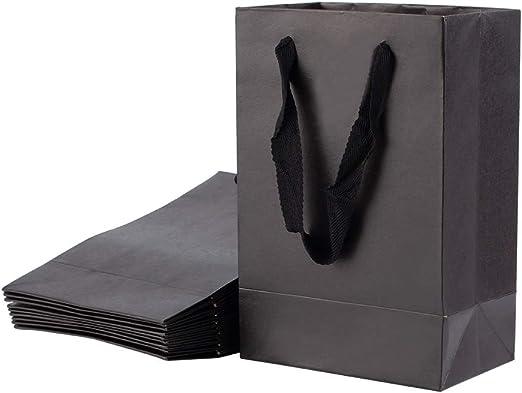 NBEADS Bolsa de Papel, Bolsas de Papel Negras de 10 Pieza con Mango de Algodón, 22x15 cm: Amazon.es: Hogar