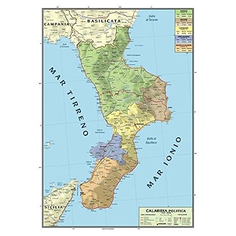 Carta Geografica Murale Regionale Calabria 100x140 Bifacciale Fisica