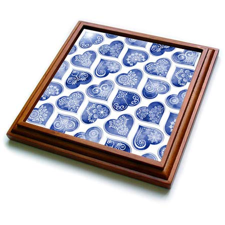 3dRose Anne Marie Baugh - Patterns - Pretty Blue Image of Watercolor Folk Heart Ornamental Heart Pattern - 8x8 Trivet with 6x6 ceramic tile (trv_317668_1)