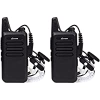Mini Walkie Talkies for Kids with Earpiece Rechargeable 3 Watt for Camping Hiking Playing Outdoor Game by Luiton (Black 2 Packs)