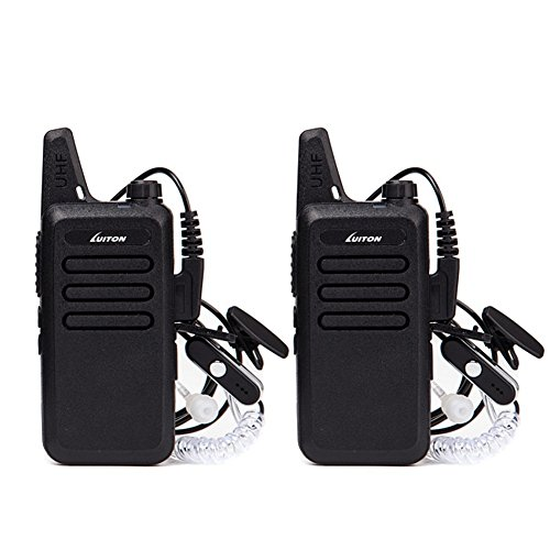 Mini Walkie Talkies with Earpiece Rechargeable 3 Watt for Camping Hiking Playing Outdoor Game by Luiton Black 2 Packs