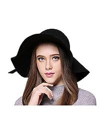 Women Fashion Vintage Wool Floppy Wide Brim Hat Jazz Hat