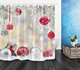 Shower Curtains with Red in Them LB Christmas Shower Curtain Kids,Silvery and Red Rope Ball with Snowflakes Fashion Holiday Theme Shower Curtain for Bathroom Waterproof Mildew Resistant Fabric 72x72 Inches
