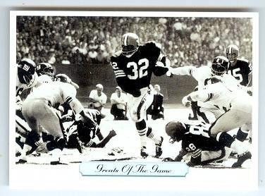 Jim Brown football card (Cleveland Browns Dirty Dozen Fireball Running Man) 1992 AW #272 Greats of Game