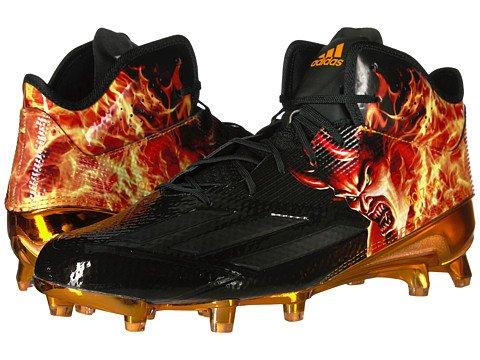 adidas Adizero 5Star 5.0 Mid Uncaged Mens Football Cleat 12 Devil-Black-EQT Orange