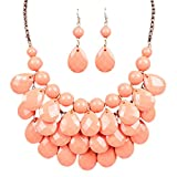 Best QIYUN.Z Statement Necklaces - Pink Lucite Drop Round Ball Beaded Fringe Bib Review