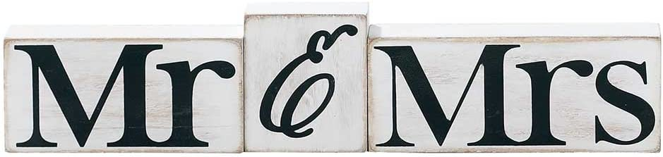 Mr. and Mrs. Distressed White 3 x 5 Wood Table Top Sign Plaque