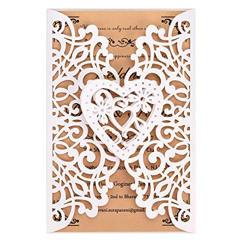 White Laser Cut Wedding Invitations Kits 50 Packs FOMTOR Laser Cut Wedding Invitations with Blank Printable Cards and Envelopes for Wedding,Birthday Parties,Baby Shower